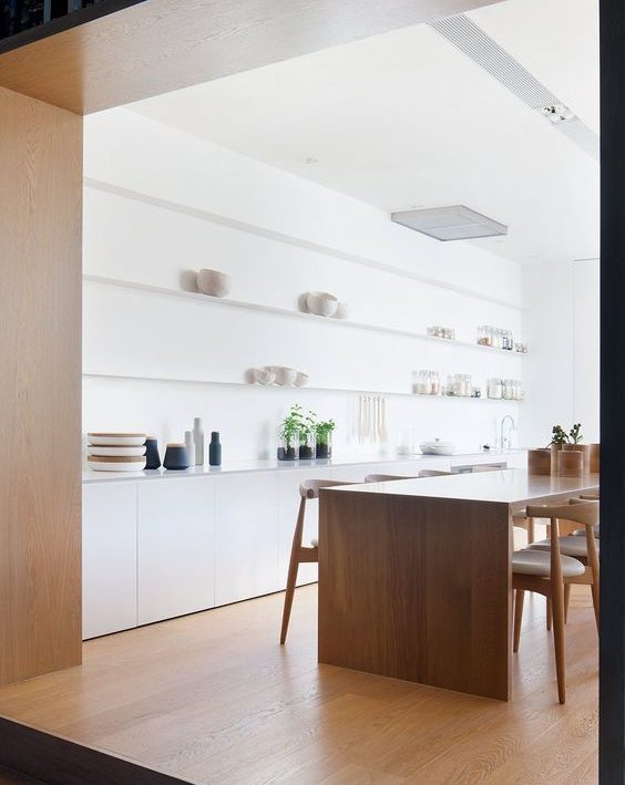 cucina bianca senza pensili