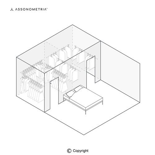 cabina armadio doppia dietro al letto