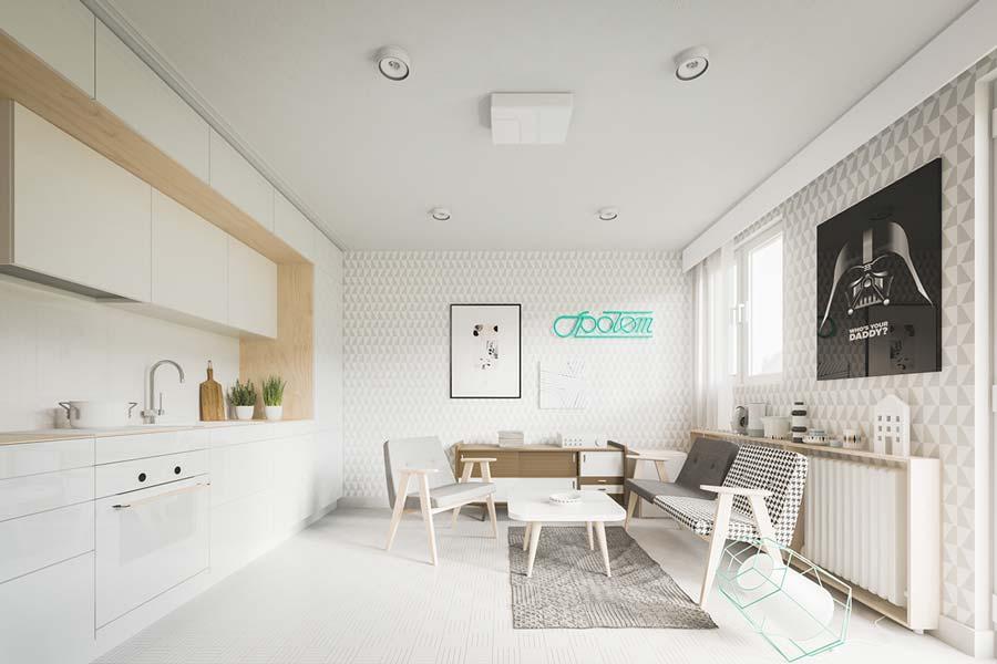 cucina soggiorno in un ambiente unico piccolo